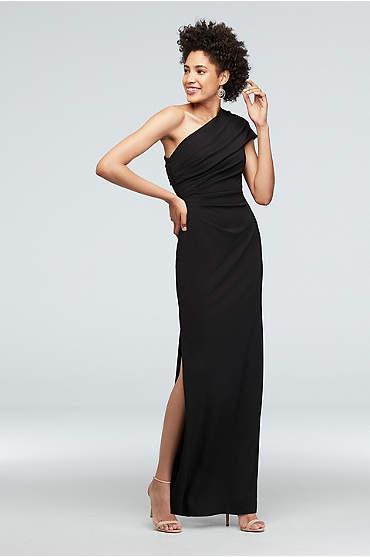 Ruched One-Shoulder Stretch Crepe Dress