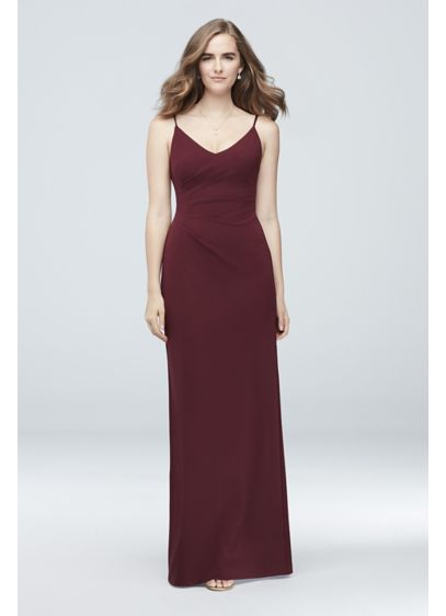 Scoopback Stretch Crepe Sheath Dress with Ruching - This slinky stretch crepe dress features adjustable spaghetti