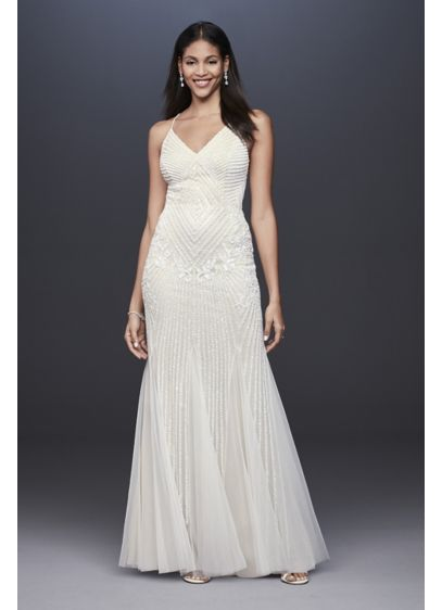 Beaded Sheath V-Neck Dress with Godets - Adorned from V-neckline to hem in intricate beadwork,