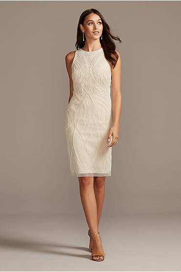 Bead and Sequin Mesh Overlay Shift Dress