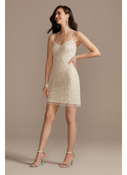 Hand-Beaded Point Desprit Slip Wedding Dress - This short slip wedding dress is crafted of