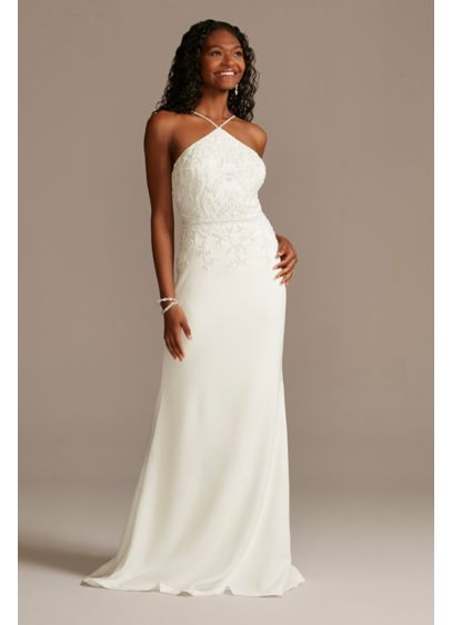 Beaded Stretch Crepe Halter Sheath Wedding Dress - Simple yet undeniably elegant, this comfortable stretch crepe