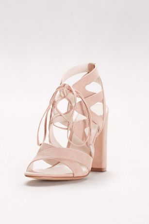 David's Bridal Beige;Red Heeled Sandals (Faux-Suede Lace-Up Sandals)