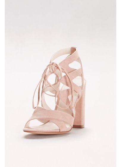 David's Bridal Beige (Faux-Suede Lace-Up Sandals)