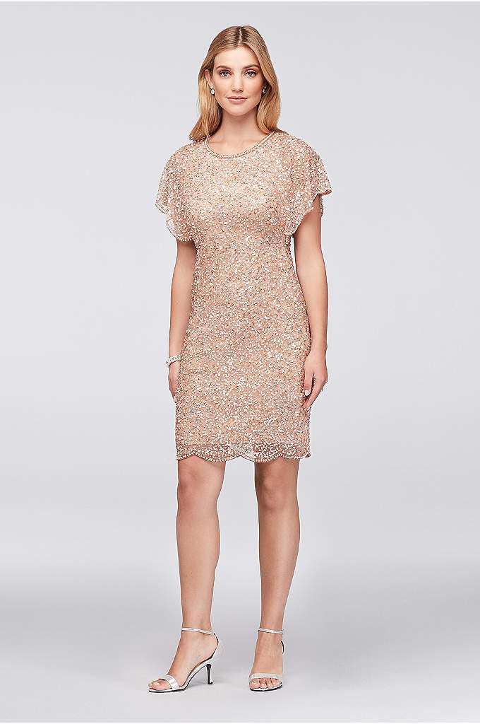 Short Beaded Dress with Scalloped Flutter Sleeves - Glamorous allover beading and sequins take center stage