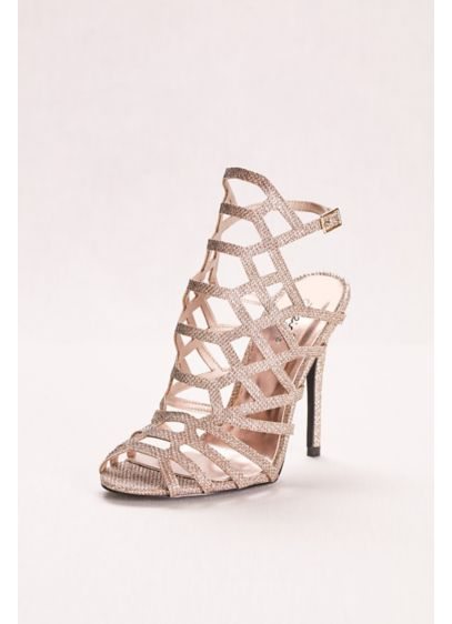 Qupid Yellow (Glitter High Heel Cage Sandal) 5be89d203b20