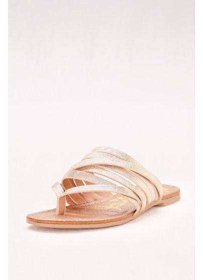 Qupid Ivory (Metallic Strappy Flip Flop Sandals)