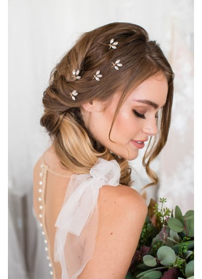 Hand-Wired Petite Crystal Leaf Trio Hairpin Set - Wedding Accessories