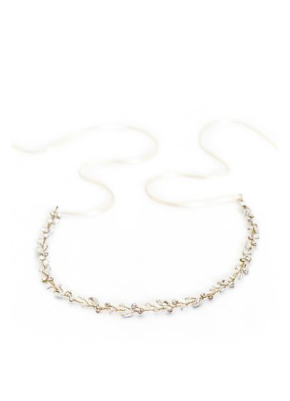 Marquise Crystal Leaf Baby's Breath Halo - This delicate, hand-wired halo gives the look of