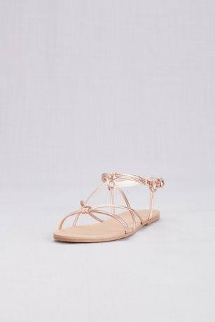 David's Bridal Pink Flat Sandals (Strappy Flat Sandals with Ankle Closure)