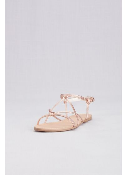 David's Bridal Pink (Strappy Flat Sandals with Ankle Closure)