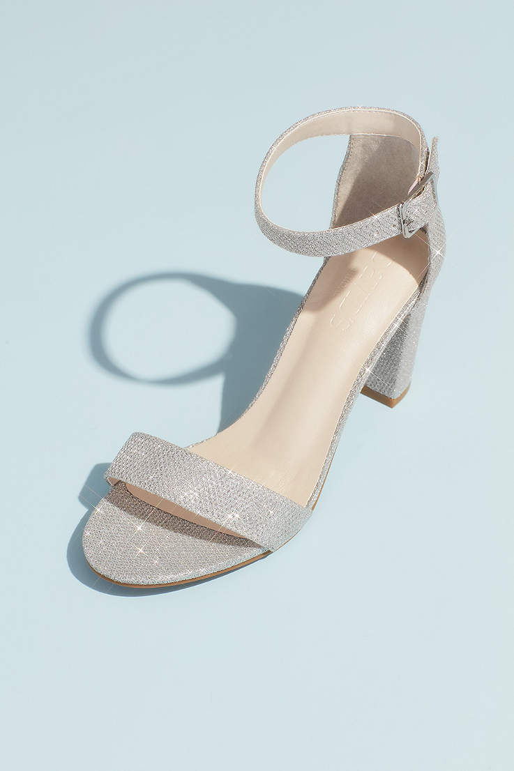 Silver Shoes Mid Heel