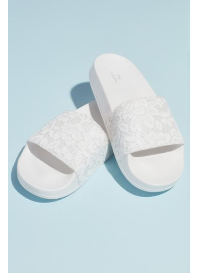David's Bridal White (Lace Strap Foam Pool Slide Sandal)