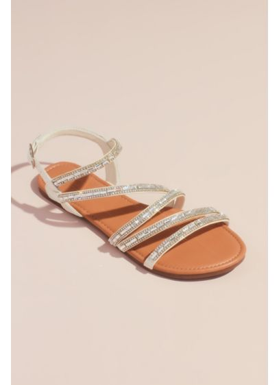 David's Bridal White (Strappy Crystal-Encrusted Flat Sandals)