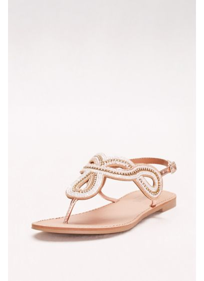 David's Bridal Pink (Swirled Strap Beaded Slingback Sandals)