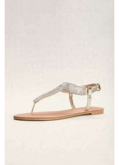 Qupid Grey (Geometric T-Strap Crystal Sandals)