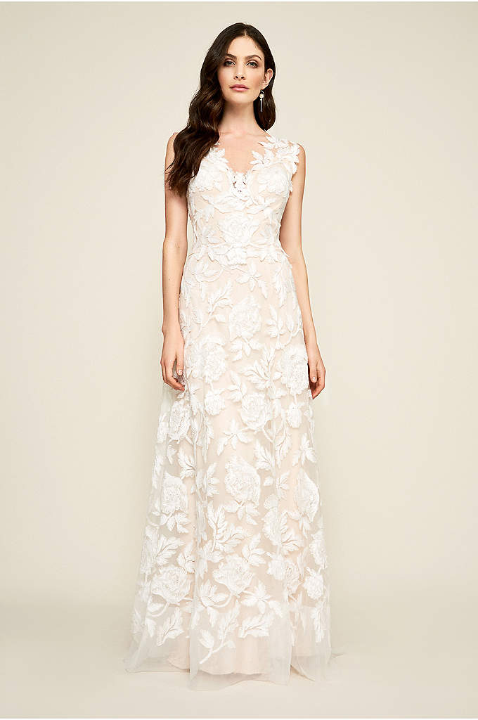 Cecila A-Line Wedding Dress - Adorned in floral embroidery from V-neck bodice to