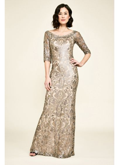Jemison Sequin Embroidered Elbow Sleeve Gown - Texture-rich and celebration-ready, this sequin-embroidered gown features an