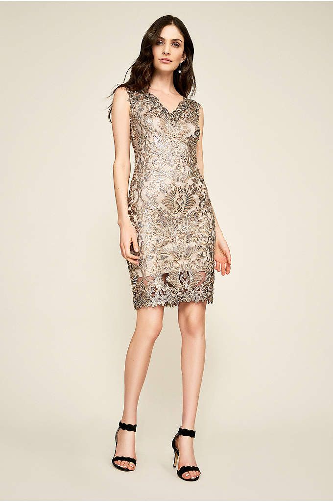 Short Metallic Corded Lace Tank Sheath Dress - Adorned in gleaming corded lace from V-neckline to