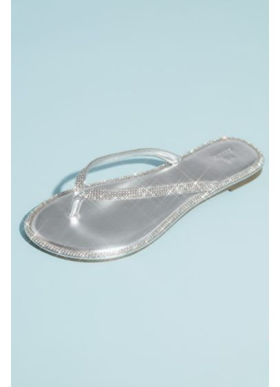 Metallic Thong Sandals with Pave Crystal Trim - Comfortable and eye-catching, these metallic thong sandals are
