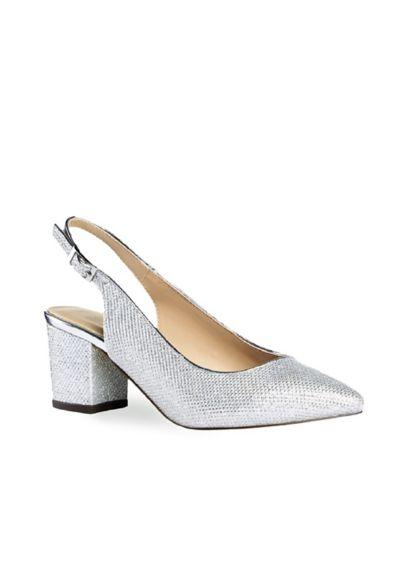 Metallic Glitter Mesh Slingback Block Heel Pumps - A timeless silhouette, these metallic glitter mesh slingback