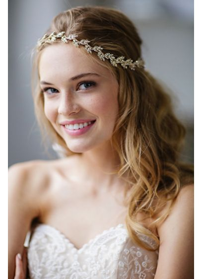 Delicate Crystal Laurel Halo Headband and Sash - Wedding Accessories