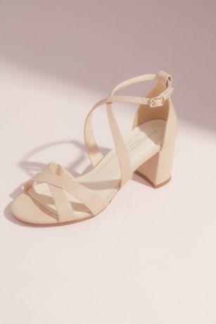 Benjamin Walk Beige;Grey Heeled Sandals (Double Crisscross Block Heel Sandals)