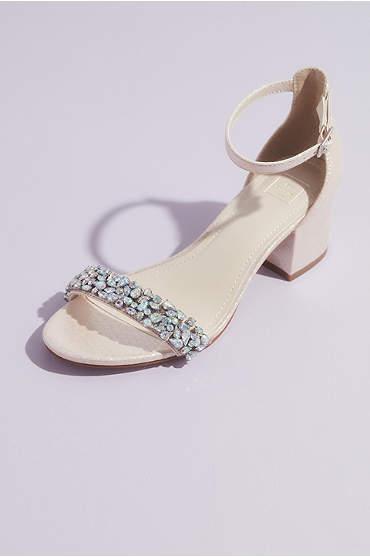 Mid-Heel Sandals with Iridescent Crystals