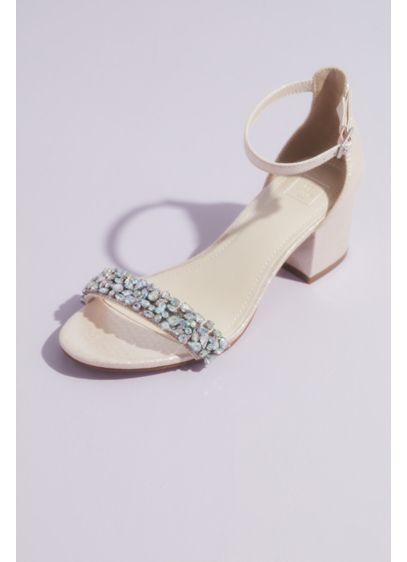 David's Bridal Pink (Mid-Heel Sandals with Iridescent Crystals)