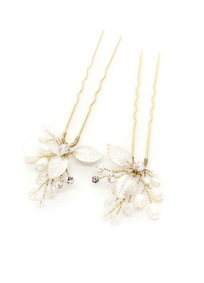 Leafy Freshwater Pearl and Crystal Hair Pin Set - Wedding Accessories