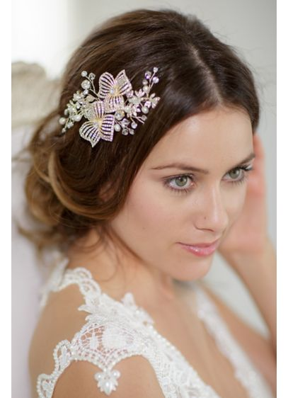 Hand-Wired Double Flower Crystal Hair Comb - Wedding Accessories