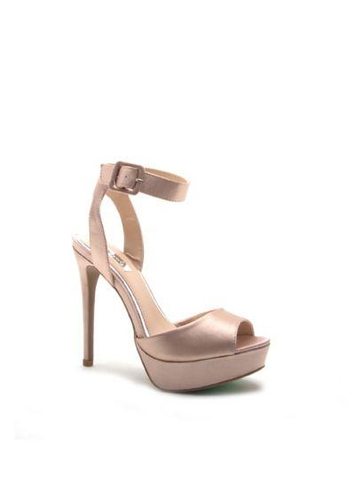 Qupid Pink (Satin Ankle-Strap Peep-Toe Platform Heels)