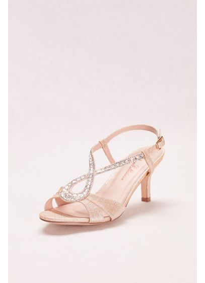 Blossom Beige (Low Heel Glitter and Crystal Embellished T-Strap)