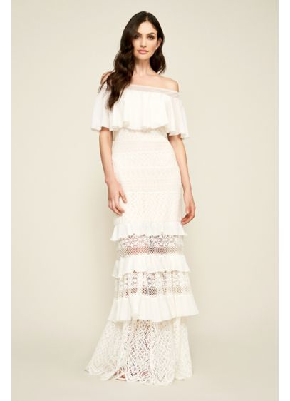 Alexia Tiered Lace Off-the-Shoulder Wedding Dress - An off-the-shoulder ruffle drapes beautifully atop alternating tiers