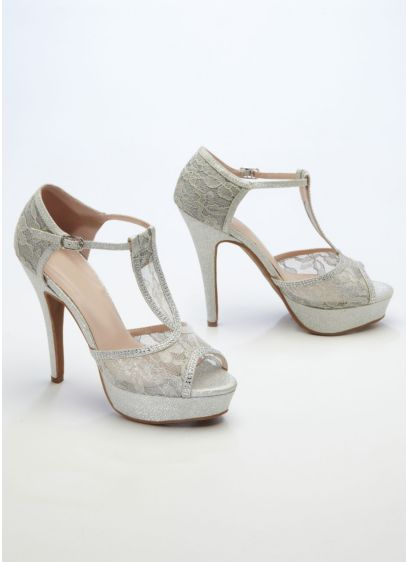 Grey (Glitter and Lace High Heel Sandal)