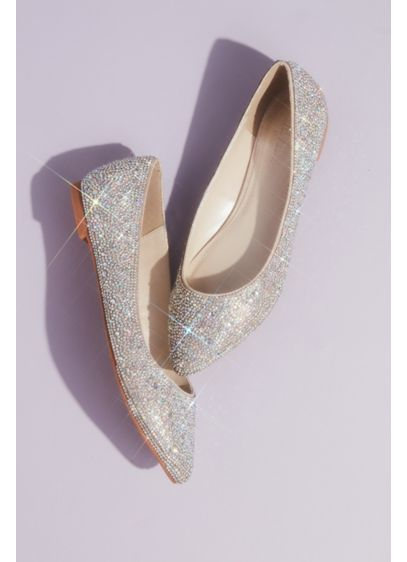 Crystal and Iridescent Stone Ballet Flats - Covered with crystals and iridescent stones, these almond