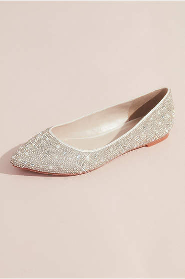 Crystal and Iridescent Stone Ballet Flats