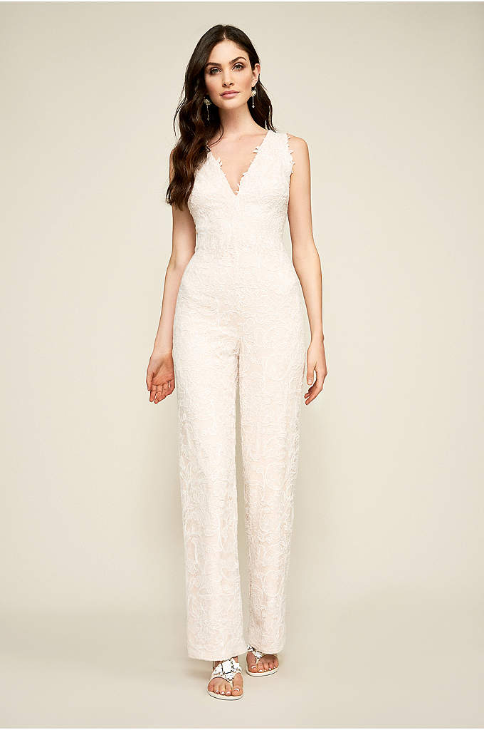 Arden Lace Jumpsuit - Crafted of corded lace, this modern jumpsuit features