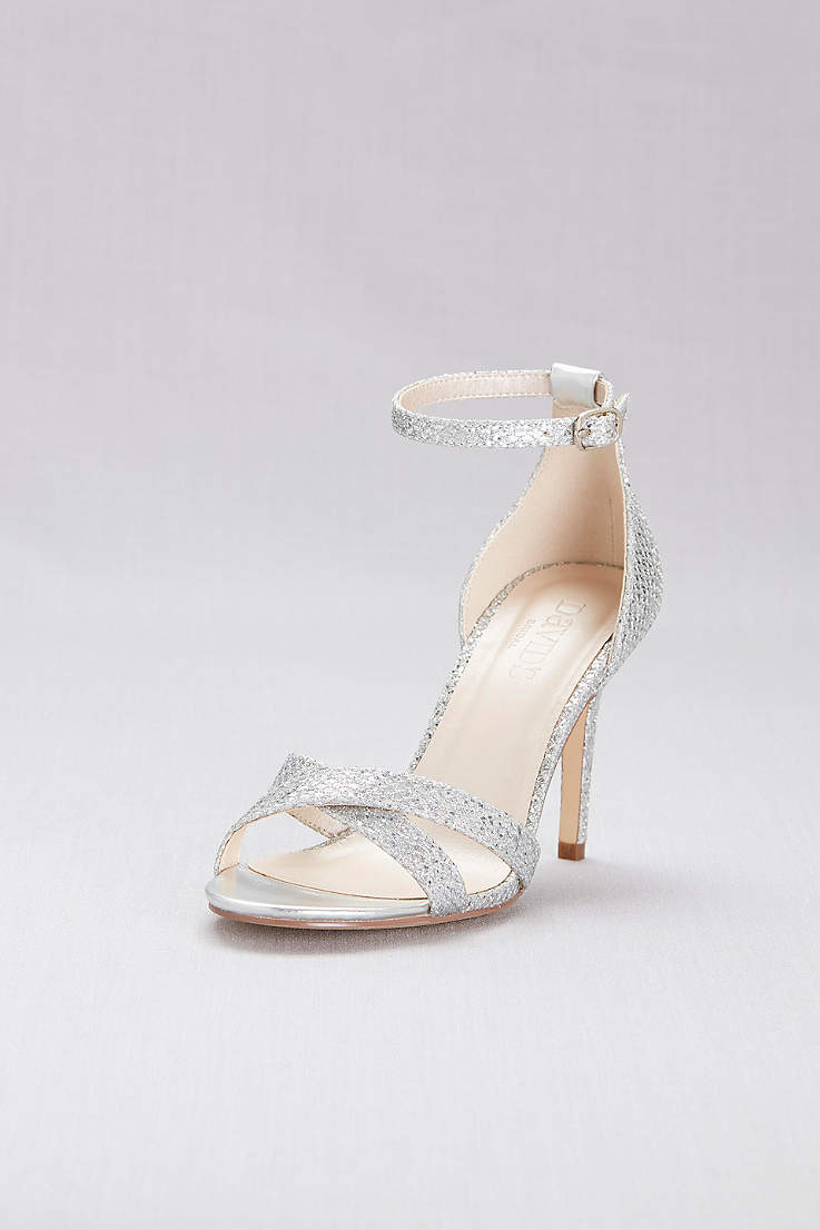 078a6bde14d09f David s Bridal Grey Heeled Sandals (Glitter Fabric Crisscross Heels)