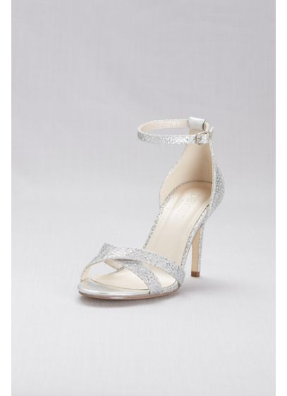 David's Bridal Grey (Glitter Fabric Crisscross Heels)