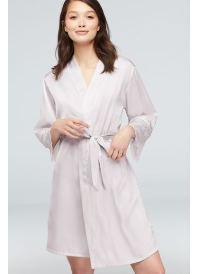 Lace-Trimmed Satin Robe - Scalloped lace trim at the sleeves takes this