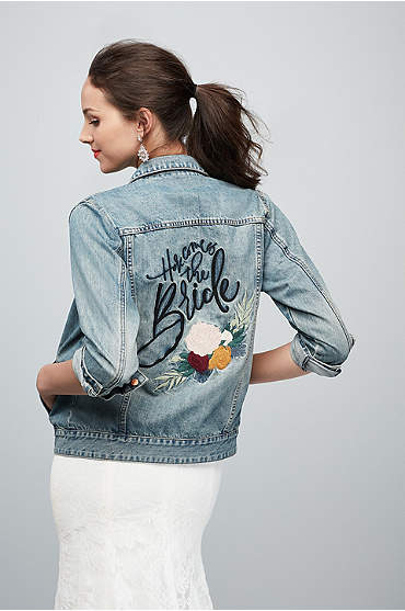 Here Comes The Bride Embroidered Jean Jacket