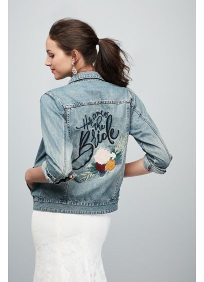 Here Comes The Bride Embroidered Jean Jacket - Here she comes! Throw on this