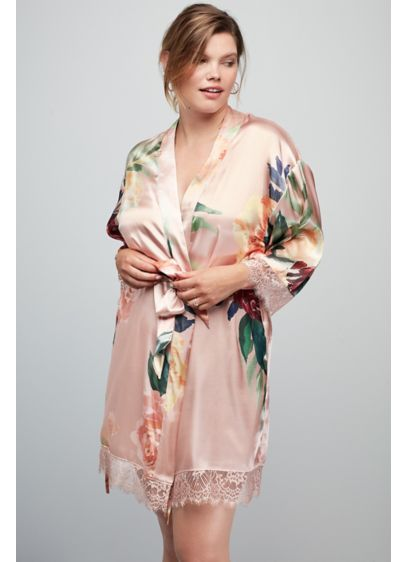 Multi (Floral and Lace Satin Robe)