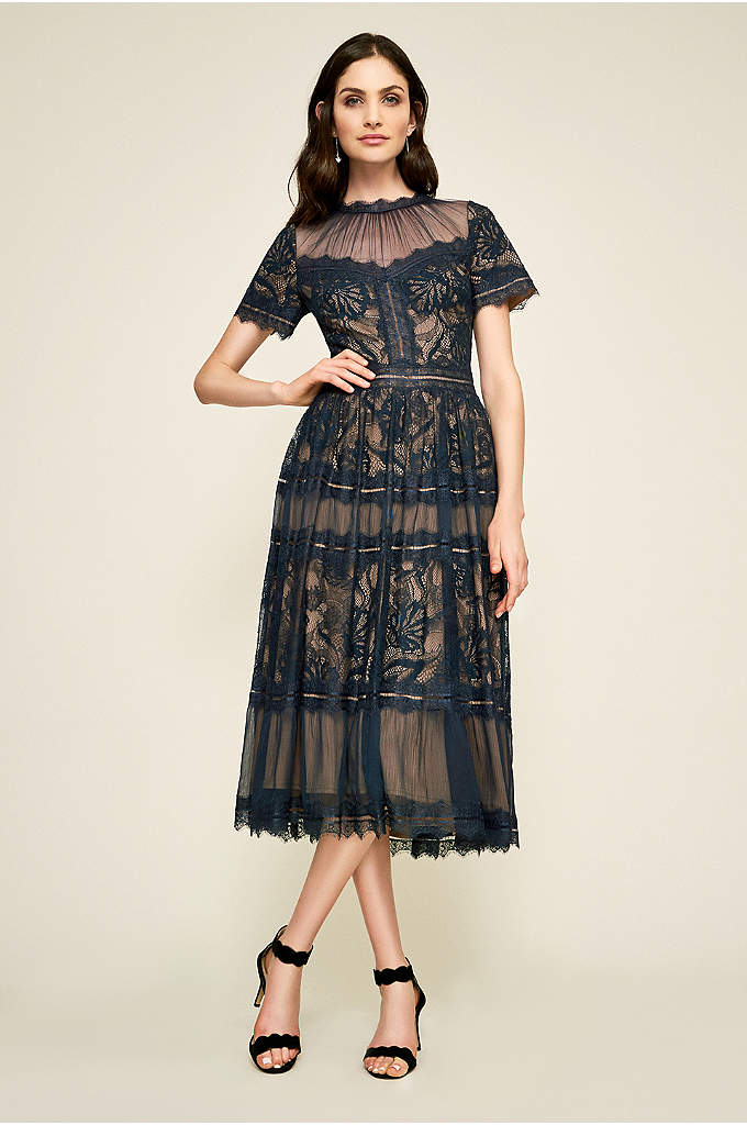 Camilla Tea-Length Illusion A-Line Dress with Lace - A romantic tea-length A-line dress for the mother