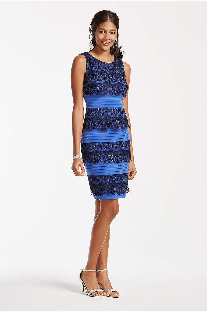 Sleeveless Banded Jersey Dress with Lace Tiers