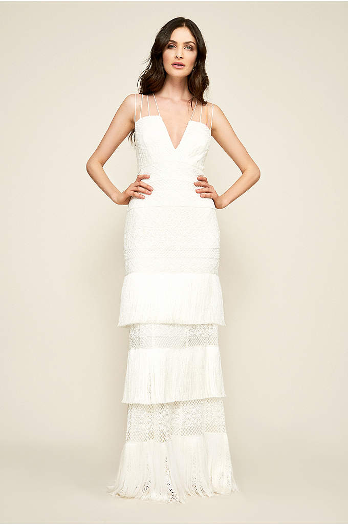 Giovanni Fringed Wedding Dress - Boho meets Hollywood glam on this beautiful V-neck