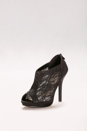 David's Bridal Black;Ivory Peep Toe Shoes;Pumps (High Heel Lace Shootie with Crystals)