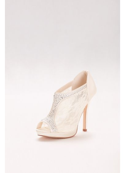 David's Bridal Ivory (High Heel Lace Shootie with Crystals)