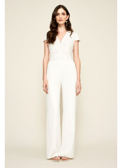 Zeina Lace And Crepe Jumpsuit David S Bridal